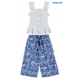 Mayoral Summer Girl Set White and Blue