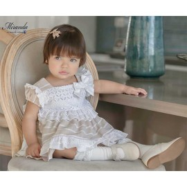 Miranda Summer Baby Girl Dress White and Camel Stripes