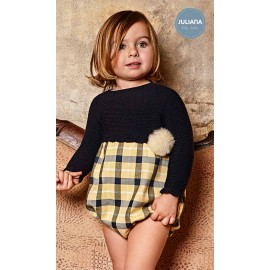 Juliana Winter Baby Boy Romper Navy and Yellow Squares