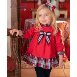 Miranda Winter Baby Girl Red Dress with Squares and Tie