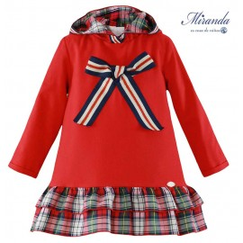 Miranda Winter Girl Red Dress with Squares and Tie