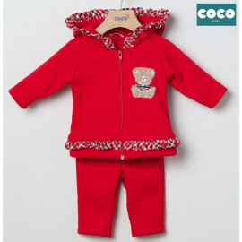 Coco Acqua Winter Baby Girl Red Tracksuit Teddy Bear