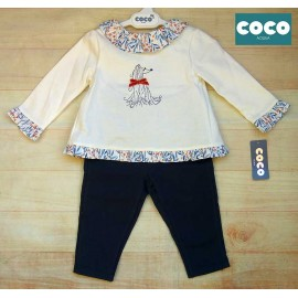 Coco Acqua Winter Baby Girl Set White and Navy with Puppy