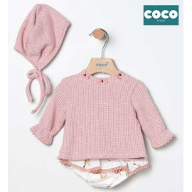 Coco Acqua Winter Baby Girl Pink Set Cats with Bonnet