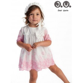 Jose Varon Summer Baby Girl Dress White and Fuchsia