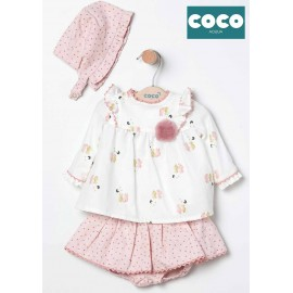 Coco Acqua Winter Baby Girl Set Cats with Bonnet