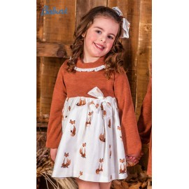 Babine Winter Girl Dress Brown and Foxes