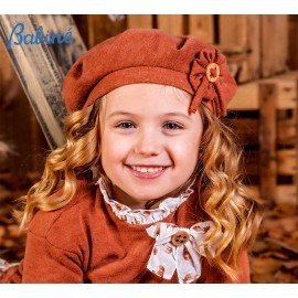 Babiné Winter Girl Brown Hat with Flower