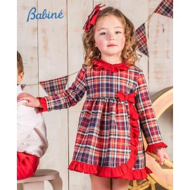 Babine Winter Girl Dress Red Squares and Ruffles