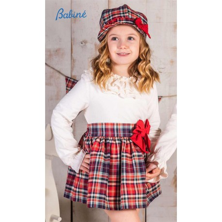 Babine Winter Girl Set Beige and Red Squares