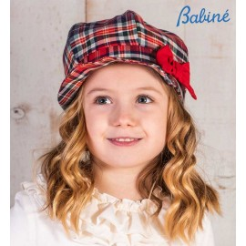 Babiné Winter Girl Red Squared Hat with Tie