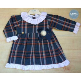 Juliana Winter Baby Girl Dress Brown and Navy Squares