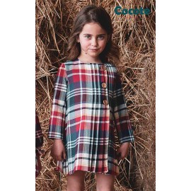 Cocote Winter Girl Dress Bue and Red Squares