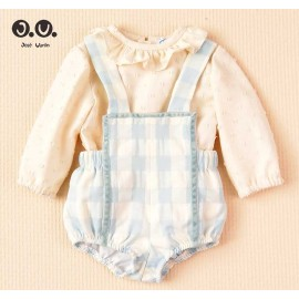 Cocote Winter Baby Boy Set Beige and Blue Squares