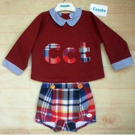 Cocote Winter Baby Boy Set Wine and Squares