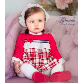 Miranda Winter Baby Girl Red Dress with Squares and White Ruffle