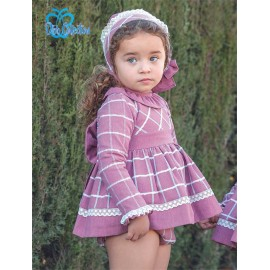 DBB Collection Winter Baby Girl Aubergine Set Squares with Bonnet