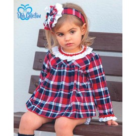DBB Collection Winter Baby Girl Set Red and Navy Squares