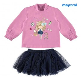 Mayoral Winter Baby Girl Mauve and Navy Set