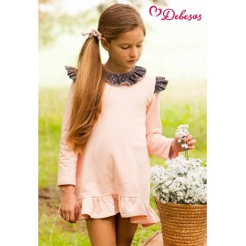 Debesos Winter Girl Dress Pink and Stars
