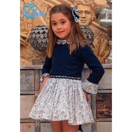 DBB Collection Winter Girl Dress Navy and Flowers