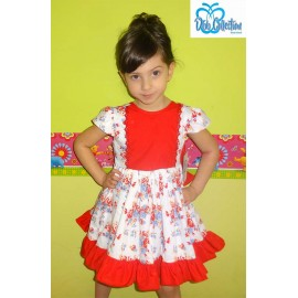 DBB Collection Summer Girl Dress Red and Flowers
