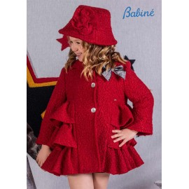 Babine Winter Girl Red Curly Coat with Ruffles