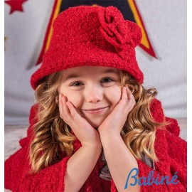 Babiné Winter Girl Red Curly Hat with Flower