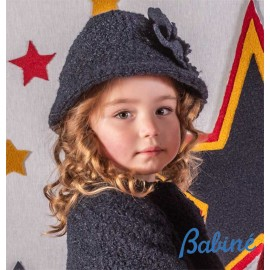 Babiné Winter Girl Navy Curly Hat with Flower