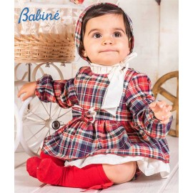 Babine Winter Baby Girl Red Squared Set with Tie