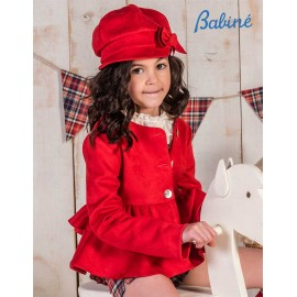 Babine Winter Girl Red Suede Jacket with Ruffles