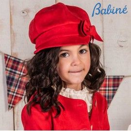 Babiné Winter Girl Red Suede Hat with Tie