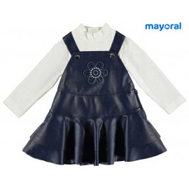 Mayoral Winter Baby Girl Set Overalls and T-Shirt