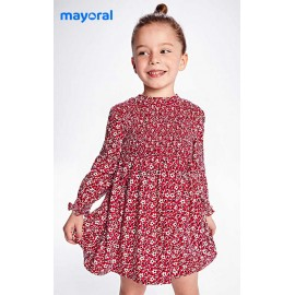 Mayoral Winter Girl Red Dress with Flowers