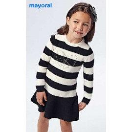 Mayoral Winter Girl Dress Beige and Navy Stripes