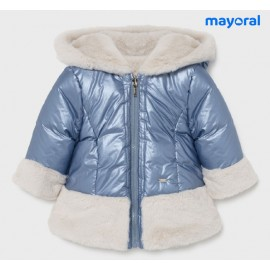Mayoral Winter Baby Girl Blue Coat with Hair