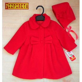 Anavig Winter Baby Girl Red Coat with Bonnet