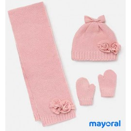 Mayoral Winter Pink Baby Girl Hat Scarf Gloves