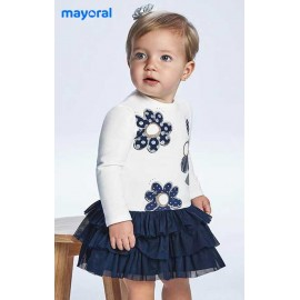 Mayoral Winter Baby Girl Dress Flowers with Navy Tulle