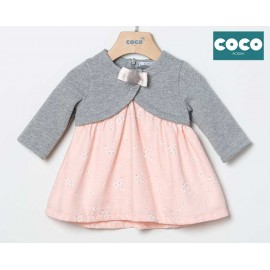 Coco Acqua Winter Baby Girl Gray and Pink Dress Dragonflies