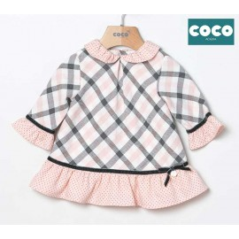 Coco Acqua Winter Baby Girl Gray and Pink Squared Dress