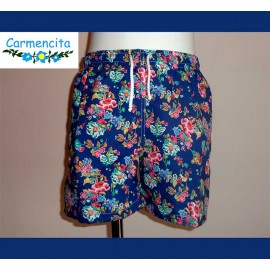 Carmencita Summer Boy Swimsuit Blue and Flowers