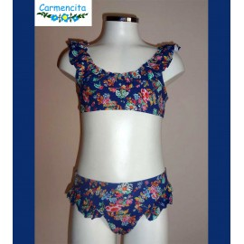 Carmencita Summer 2018 Girl Bikini Blue and Flowers