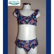 Carmencita Summer Girl Bikini Blue and Flowers