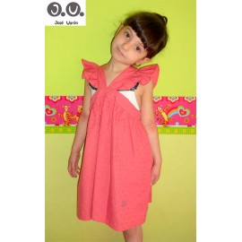 Jose Varon Summer Girl Dress Beach Plumetis Coral