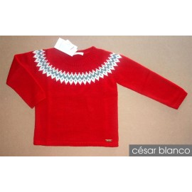 Cesar Blanco Winter Boy Sweater Greca Red