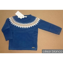 Cesar Blanco Winter Boy Sweater Greca Blue