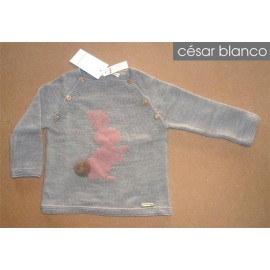 Cesar Blanco Winter Baby Sweater Rabbit Gray