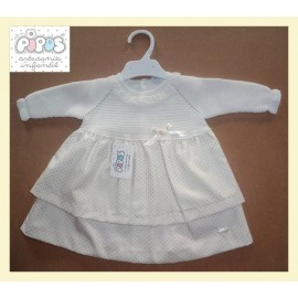 Pipos Winter Baby Girl Dress Golden White