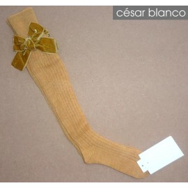 Cesar Blanco Winter Girl High Socks Ocher